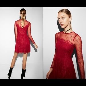Stunning, sexy, red lacy dress from Express, NWT!